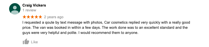 Review on google maps of the service from Car Cosmetics