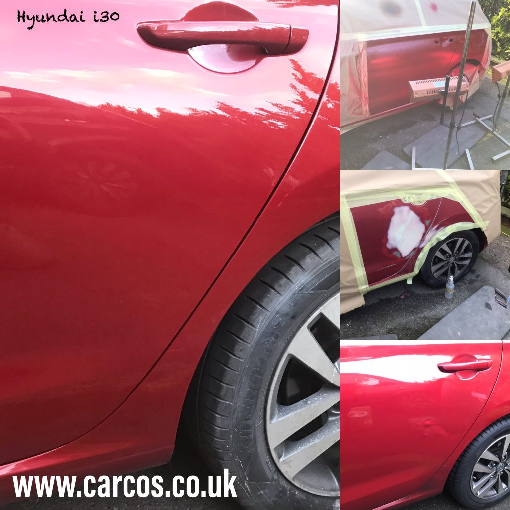 Several images showing process of a mobile car body repair in London